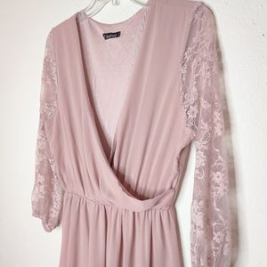 Boohoo Lace Pink Dres